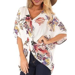 Chiffon Ruched Floral Pattern Top